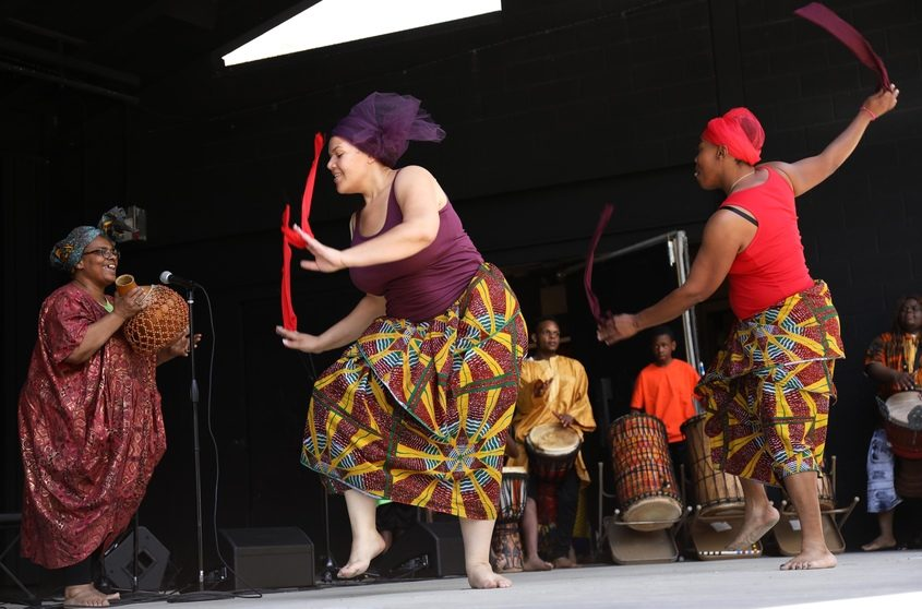 Traditional African dances and drum routines are performed at Juneteenth in Central Park Saturday.