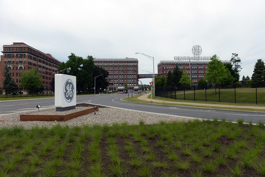 The main gate to General Electric's Schenectady facility is seen on Wednesday