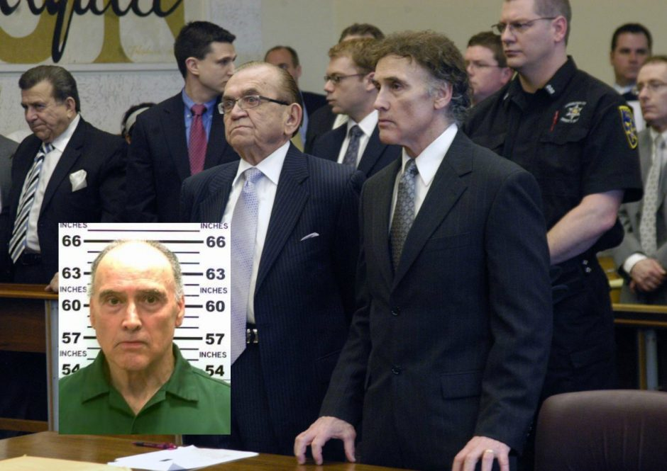 Steven Raucci listens with his attorney as the trial verdict is read in April 2010. Inset: Raucci's most recent prison mug shot