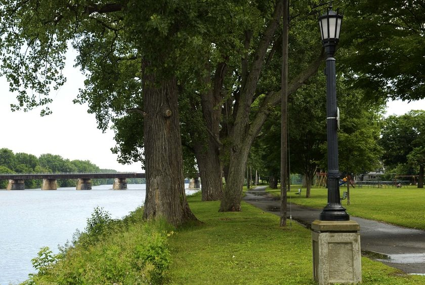 Riverside Park at the foot of North Ferry Street with the Mohawk River to the left is pictured.