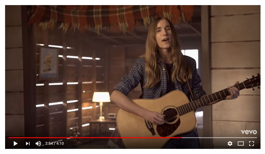 """A screen capture from Sawyer Fredericks' video """"Take it All."""""""