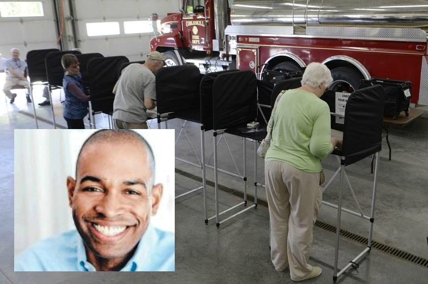 Antonio Delgado (inset); Cobleskill residents cast their ballots at the Cobleskill Fire house on Tuesday. (Background)