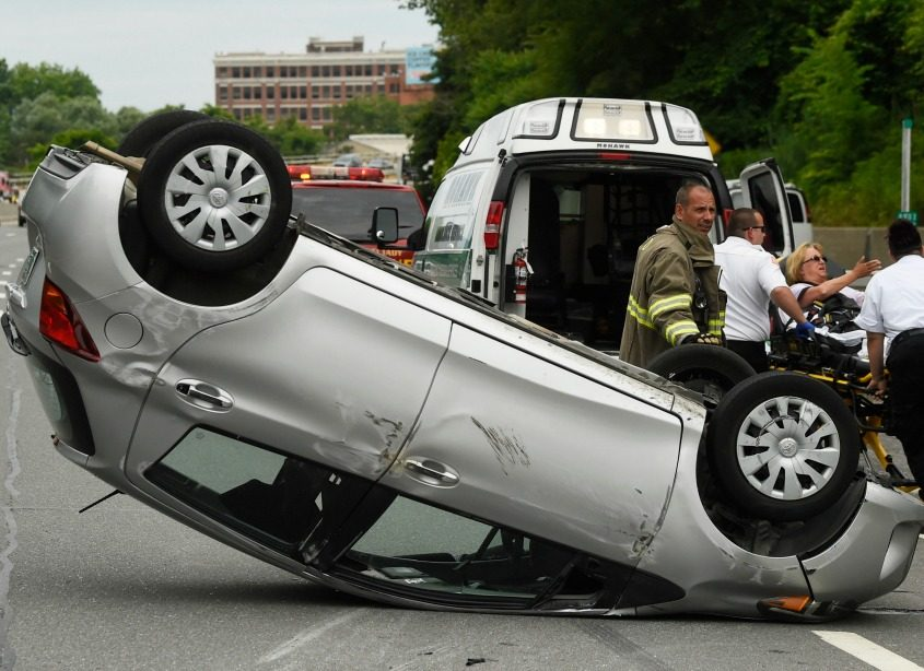 A car rolled over on Interstate 890 near Broadway Wednesday morning