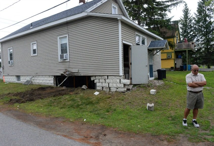 A car slammed into this house Wednesday in Colonie