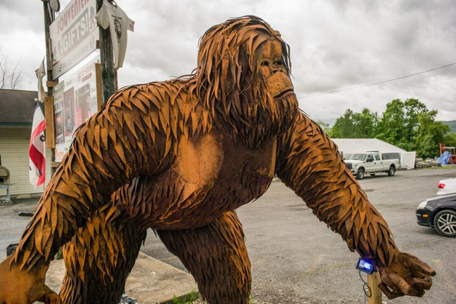 A 1,000 pound Sasquatch statues stands ready to pounce at Vermont Marble Granite, Slate & Soapstone Co. in Whitehall, NY.