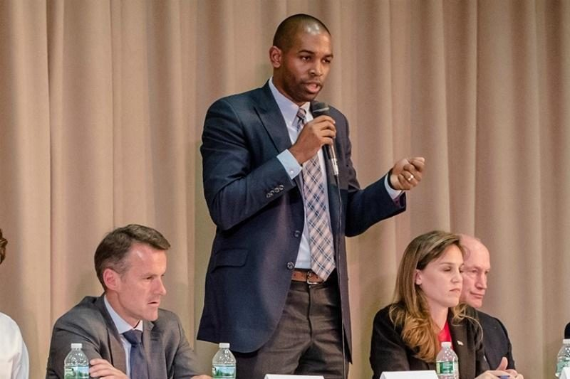 Antonio Delgado, a Democratic candidate Congress, speaks during the candidate forum at Temple Emanuel in Kingston, June 5.
