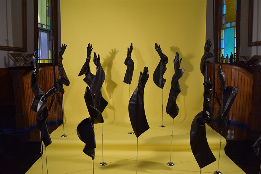 Sculptural glove installation at The Glove Museum in Dorloo, a hamlet in the town of Seward.