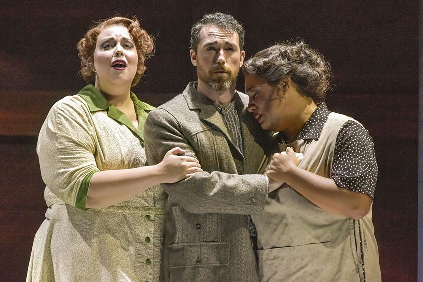 "From left, Meghan Kasanders, Robert Wesley Mason and Deborah Nansteel in Opera Saratoga's ""The Consul."""