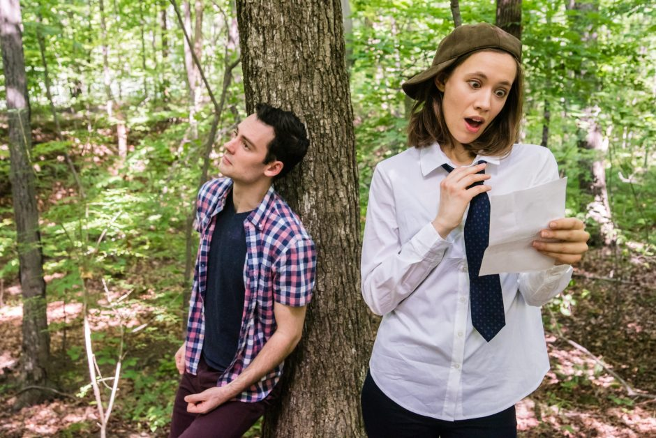 """Woodrow Proctor is Orlando and Gwynedd Vetter-Drusch plays Rosalind in the Saratoga Shakespeare production of """"As You Like It."""""""
