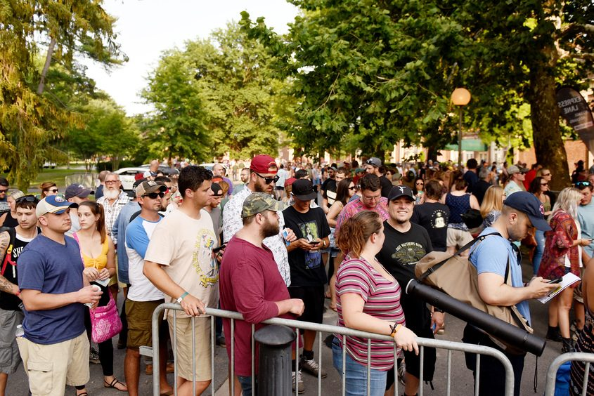 Fans queue up for entry at SPAC in the Saratoga Spa State Park for the annual Dave Matthews Band concert, on Friday.