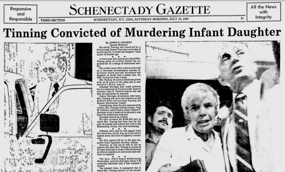 The Gazette page from July 18, 1987 announcing Marybeth Tinning's conviction