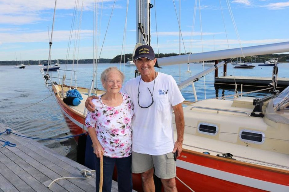 Glenville's Johanna Nally stands near the Puffin with Istvan Kopar earlier this year near his Long Island home.