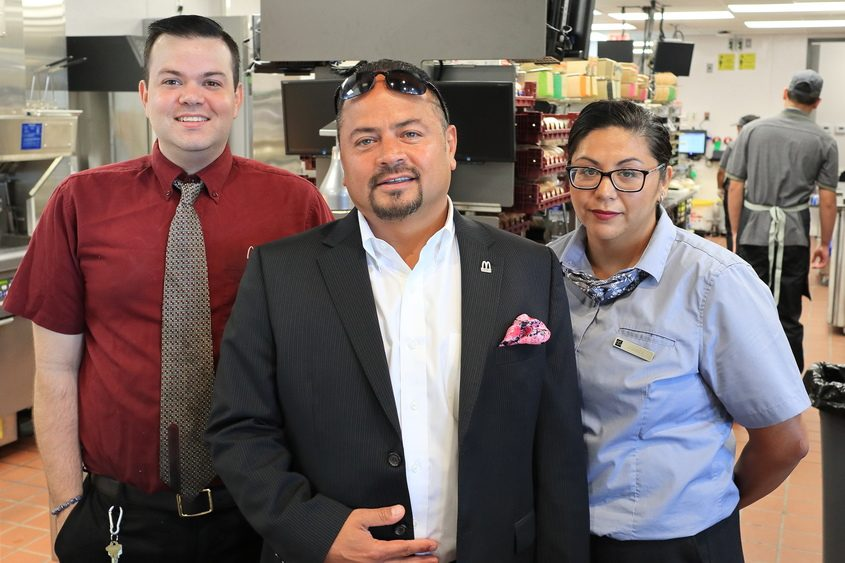 From left, area supervisor Mike Hyland, owner/operator Joe Rodriguez and store general manager Andrea Rodriguez.