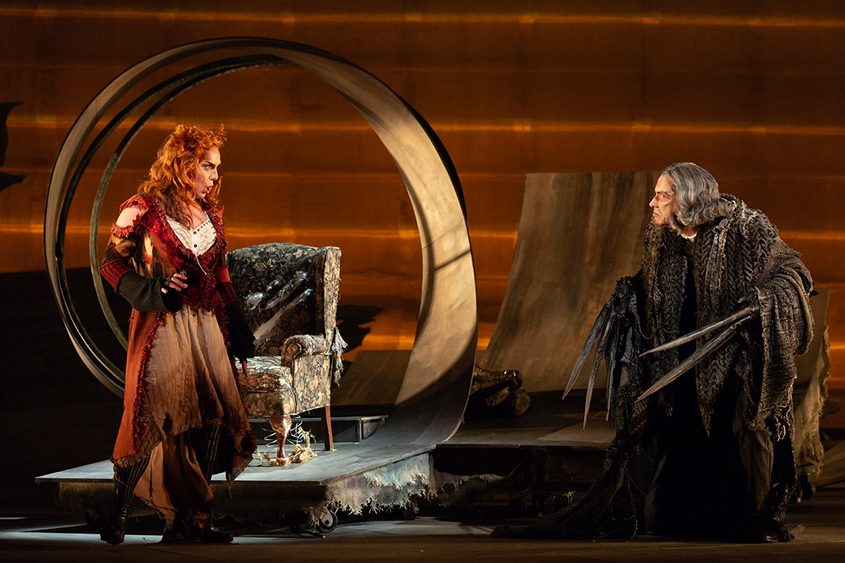 """Joanna Latini as the Vixen and Zachary Owen as the Badger in The Glimmerglass Festival's """"The Cunning Little Vixen'"""