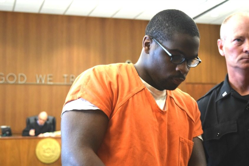 Logan is seen in court Monday, as he is sentenced to 10 years in prison.