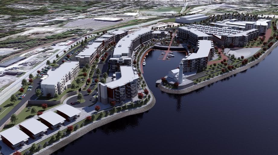 The dock would be placed along the river shore between the marina and casino