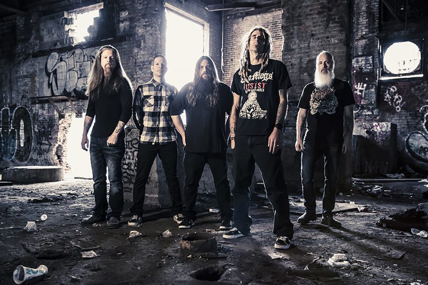 Heavy metal group Lamb of God, with bass player John Campbell at far right.