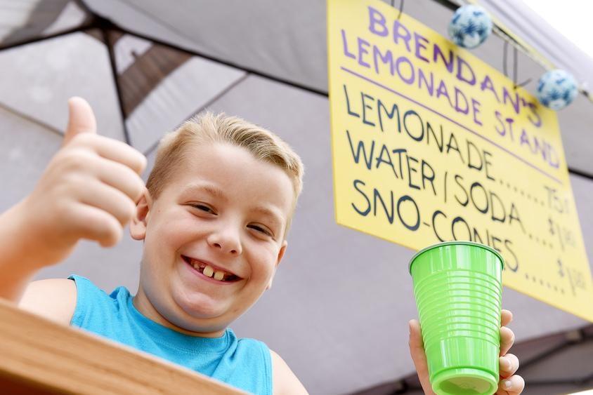 Brendan Mulvaney is shown at his lemonade stand on Saturday.