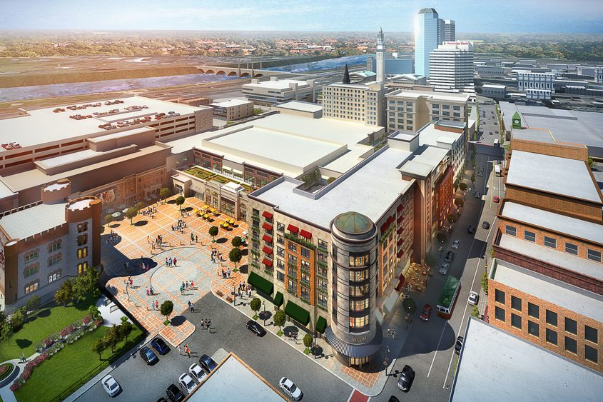 An architectural rendering of the MGM Springfield casino, which is scheduled to open Aug. 24, in Springfield, Mass