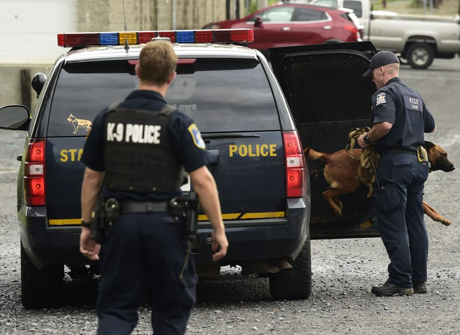 State police canine Officer Patrick Darling and his partner, Joco, prepare to search behind 766 State St. in Schenectady.