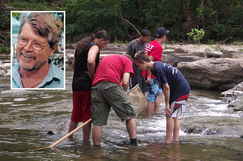 Schoharie River Center Environmental Study Team members collect water samples in Schoharie Creek. Inset: John Cronin