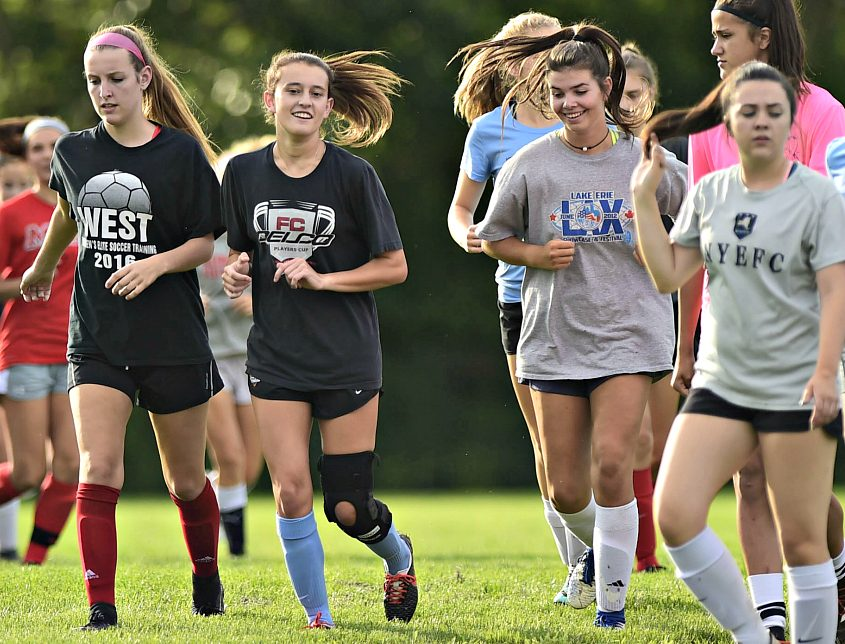 Olivia Piraino, second from left, is back after tearing her ACL last season.