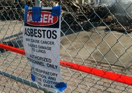 An asbestos sign on State Street in Schenectady in November