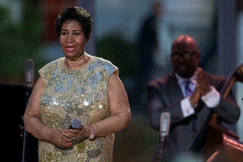 Aretha Franklin is applauded after performing to mark International Jazz Day at the White House in Washington on April 29, 2016.