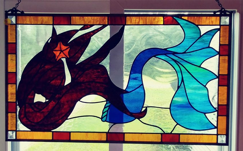"""""""Delphine,"""" stained glass by Carolyn Adamczyk"""
