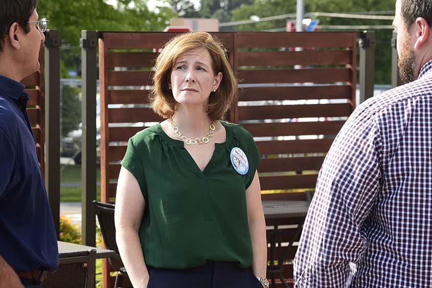 State Senate challenger Michelle Ostrelich campaigns in Glenville, incumbent James Tedisco's hometown on Aug. 23, 2018.