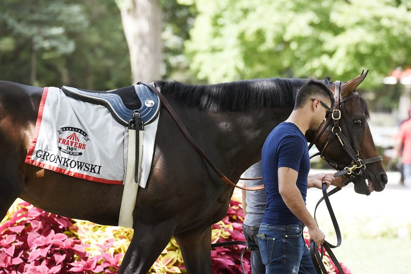 Gronkowski prepares for the Travers Stakes at Saratoga Race Course.