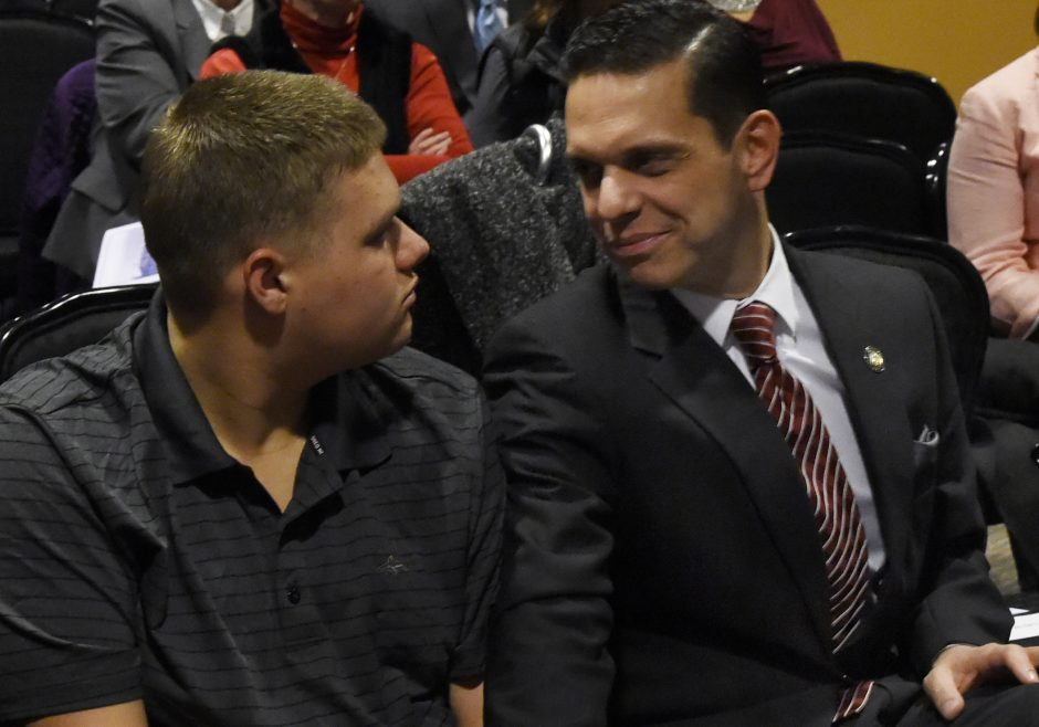 Assemblyman Angelo Santabarbara with his son Michael before taking the Oath of Office at Proctors January 3, 2017.