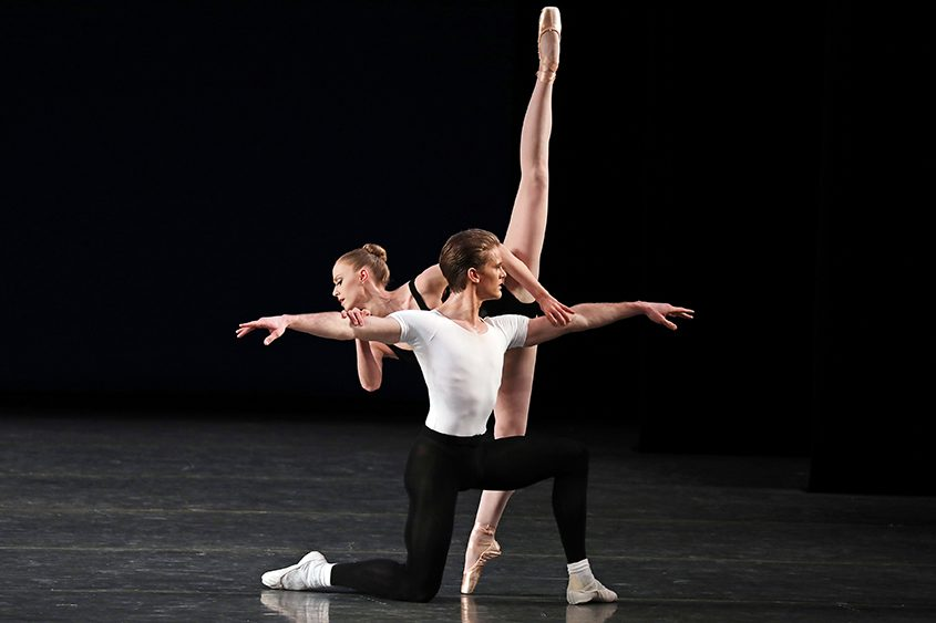 """Chase Finlay with Teresa Reichlen in George Balanchine's """"Agon,"""" at David H. Koch Theater in New York in March."""