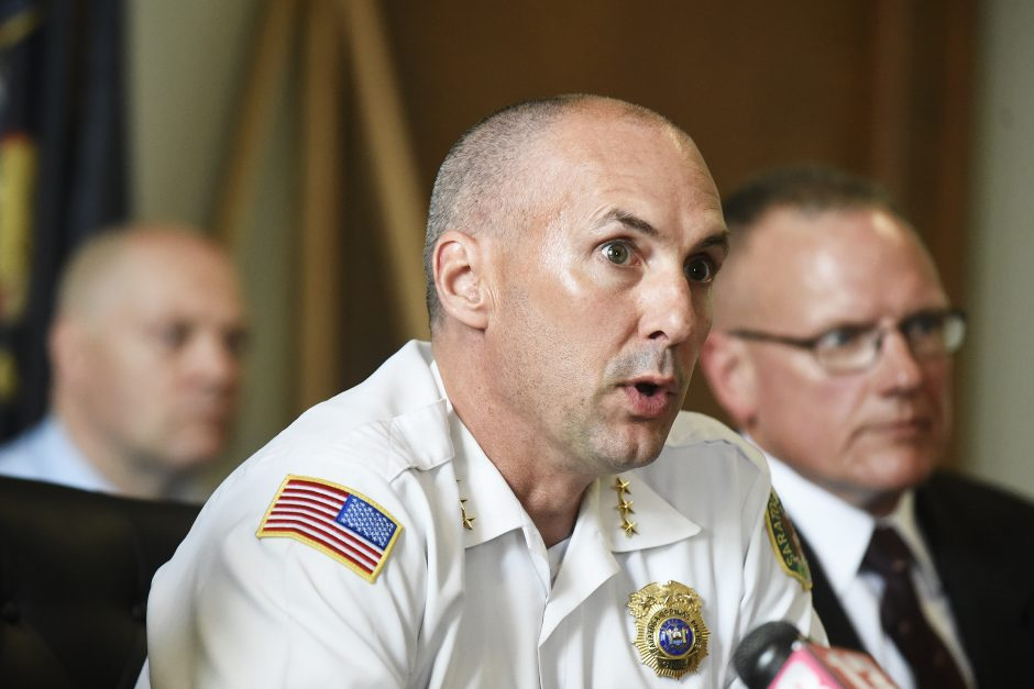 Saratoga Springs Police Department Chief Greg Veitch during a press conference July 2018.