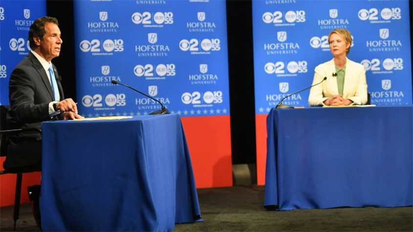 Gov. Andrew Cuomo and challenger Cynthia Nixon squared off in a debate at Hofstra University on Wednesday.