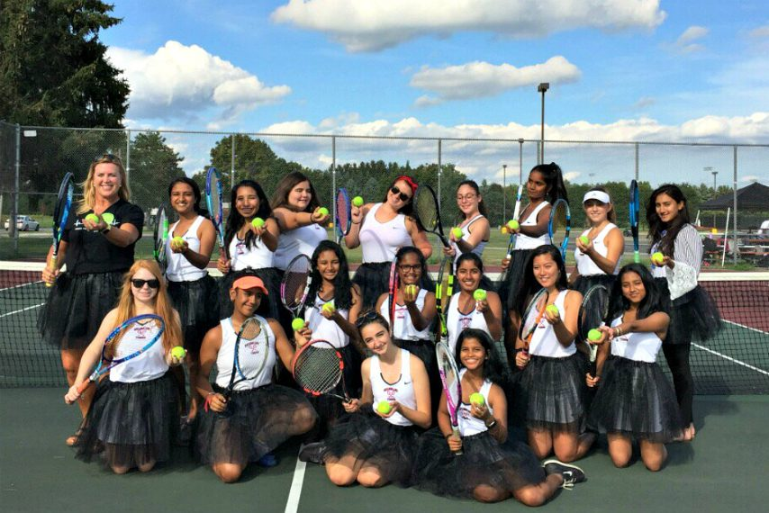 The Guilderland High girls' tennis team wore black tutus against Schenectady on Friday to show solidarity with Serena Williams.
