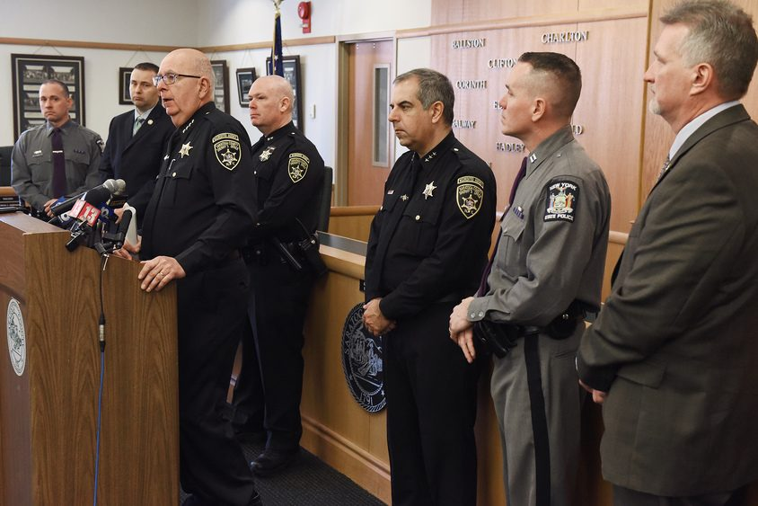 Saratoga County Sheriff Mike Zurlo announces the March arrests