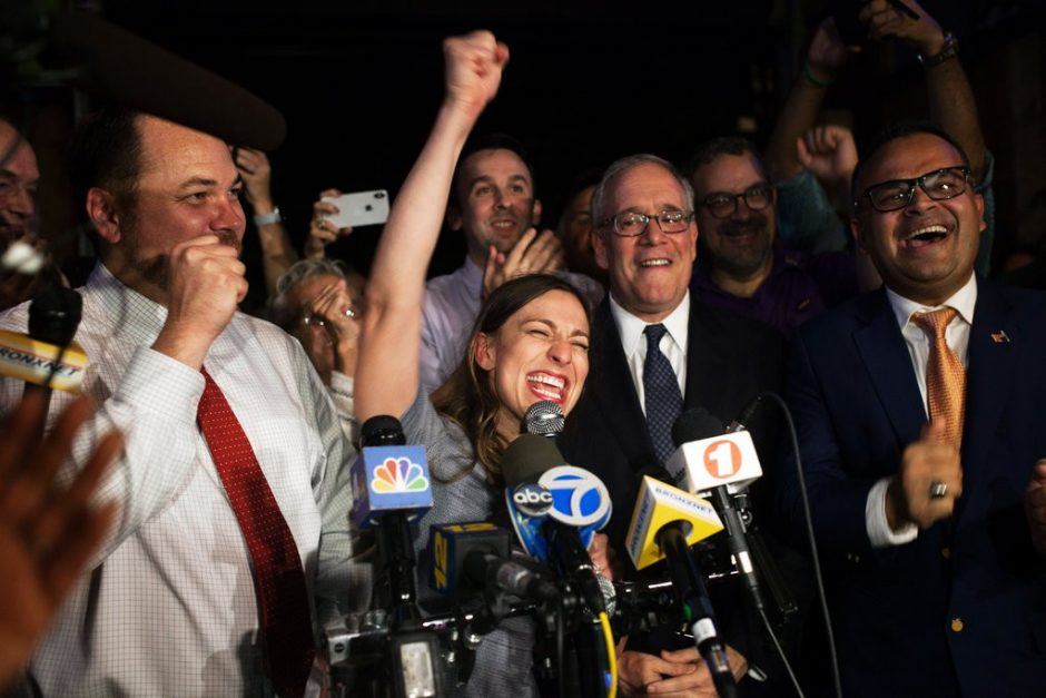 Alessandra Biaggi, a lawyer and former aide to Gov. Andrew M. Cuomo, at her victory party.