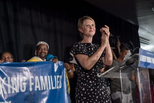 Cynthia Nixon, a Democratic candidate for governor, appears in New York City on Thursday.