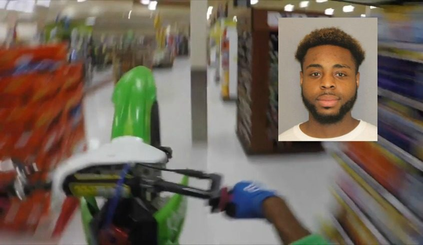 A still from a video highlighted by police of a man riding a dirt bike through a Schenectady Price Chopper. Inset: Knight