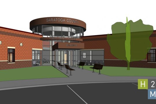 An architectural rendering shows the proposed Saratoga County Public Safety Building.