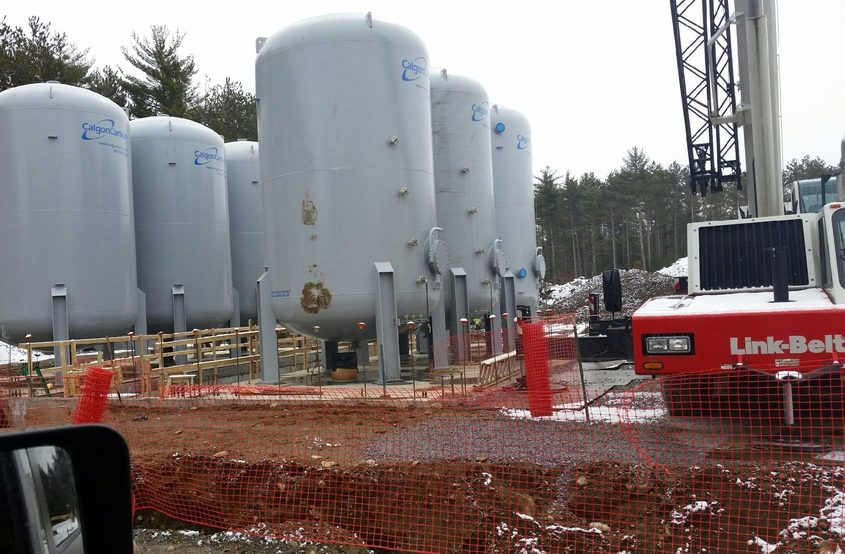 Filtration tanks are installed as part of a $5.5 million carbon filtration system for the Saratoga County Water Authority.