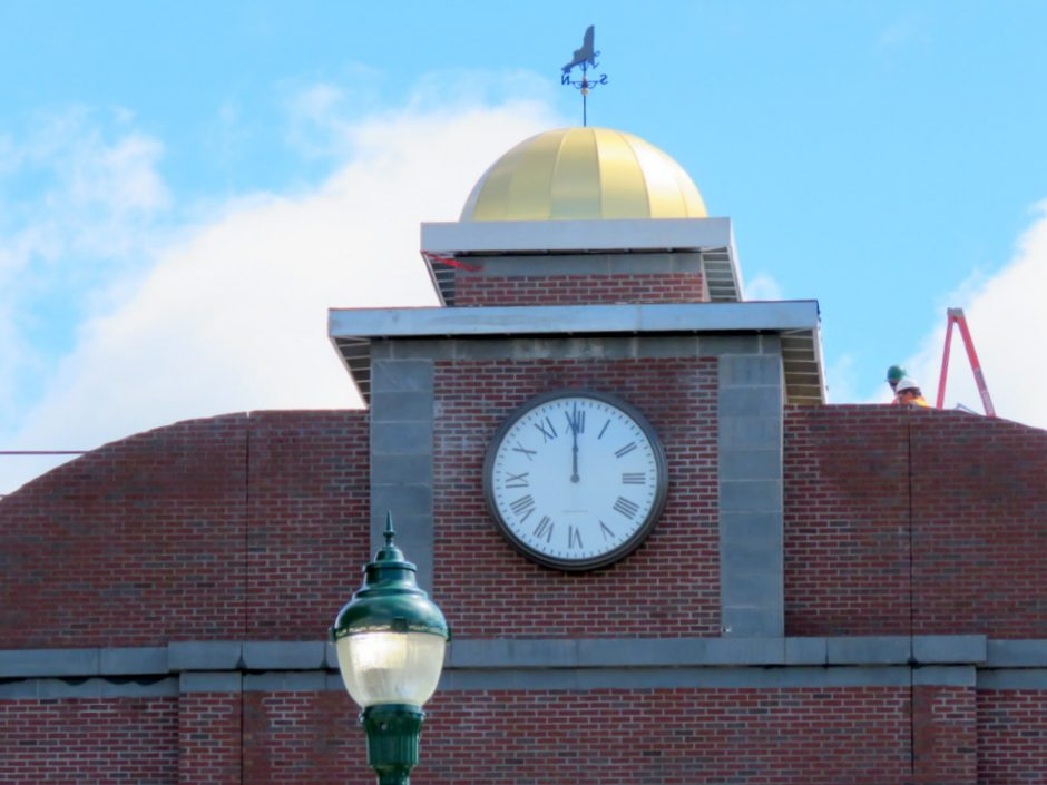 The new clock at the Amtrak station under construction in Schenectady is pictured.