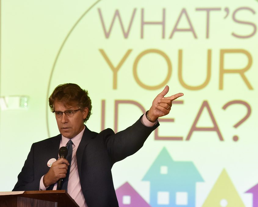 Robert A. Carreau, exectutive director of The Schenectady Foundation, announces the Thriving Neighborhoods Challenge.