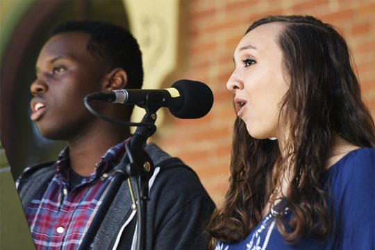 Nicole Ecker, 19, of Saratoga Springs and Julian Tushabe, 18, of Queensbury perform at the Saratoga Peace Fair.