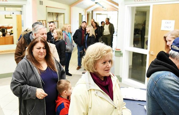 Voters line up to cast ballots on the Burnt Hills sewer proposal in April