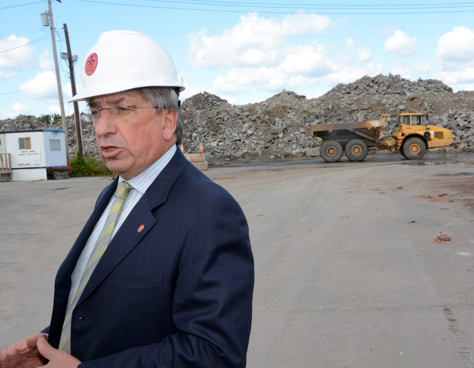 Galesi Group CEO, David Buicko talks to the press at the former ALCO site in Schenectady in September 2014.