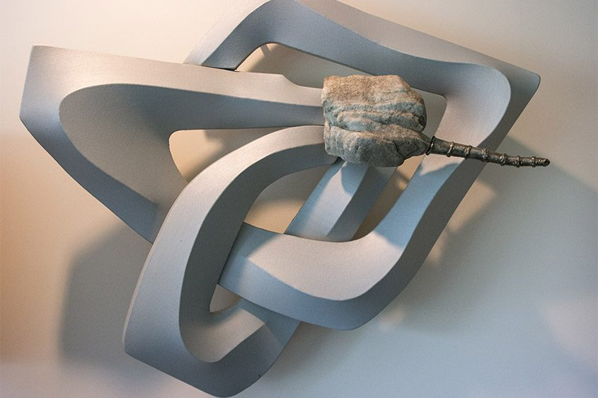 """""""Vision Serpent,"""" 1992. Stone, steel, wood, and acrylic on shaped canvas."""