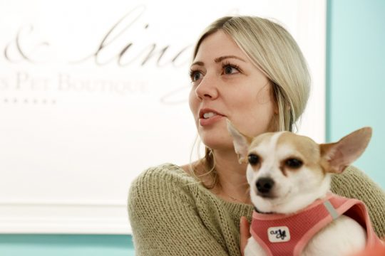 Jill Rodriguez, owner of Bella & Lindy Saratoga's Pet Boutique, talks with her adopted dog Chachi about her business expansion.