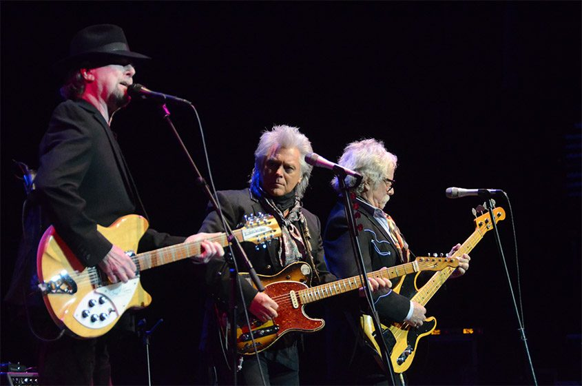 Ex-Byrds Roger McGuinn, left, and Chris Hillman, right, were joined by Marty Stuart at The Egg on Sept. 18.